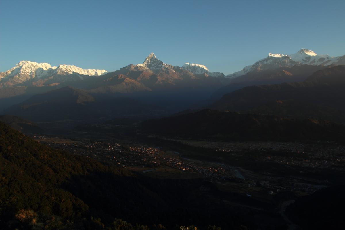 Annapurna and the city of Pokhara