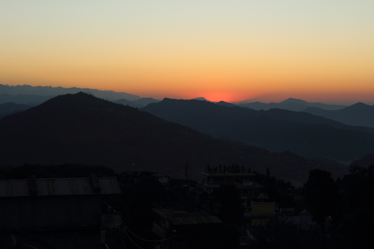 Sun about to rise over the beautiful city of Pokhara