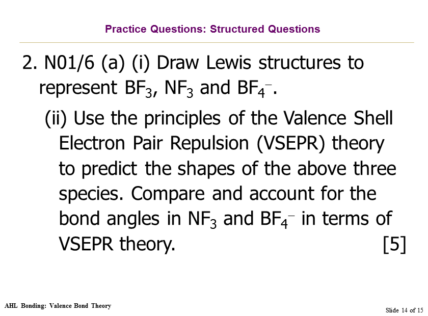 VSEPR Theory questions