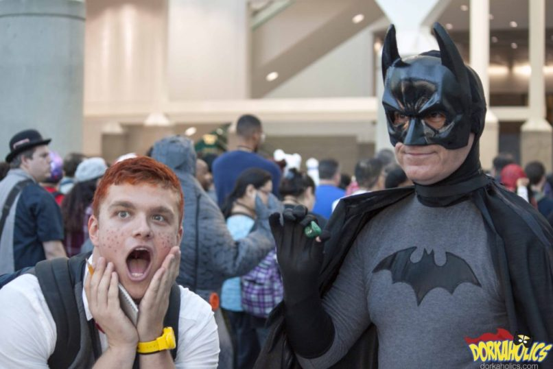Jimmy Olsen fanboying over meeting the Dark Knight. Photo by Neil Bui.