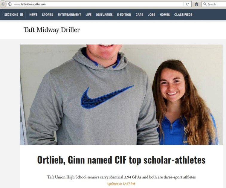 """Ortlieb, Ginn named CIF top scholar-athletes"" but don't forget about Nike."