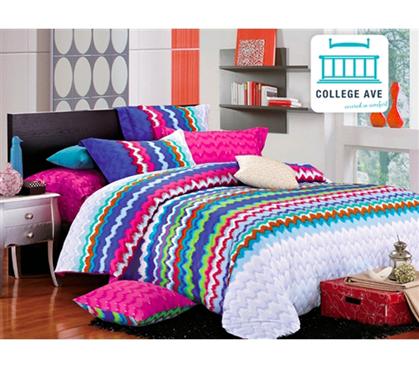 Rainbow Splash Twin XL Comforter Set College Ave Designer Series Dorm Decorations Colorful