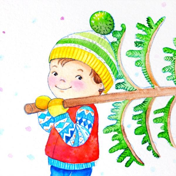 Kinderillustration Weihnachtsbaum