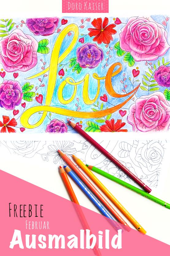 gratis ausmalbild im februar coloring page liebe zum