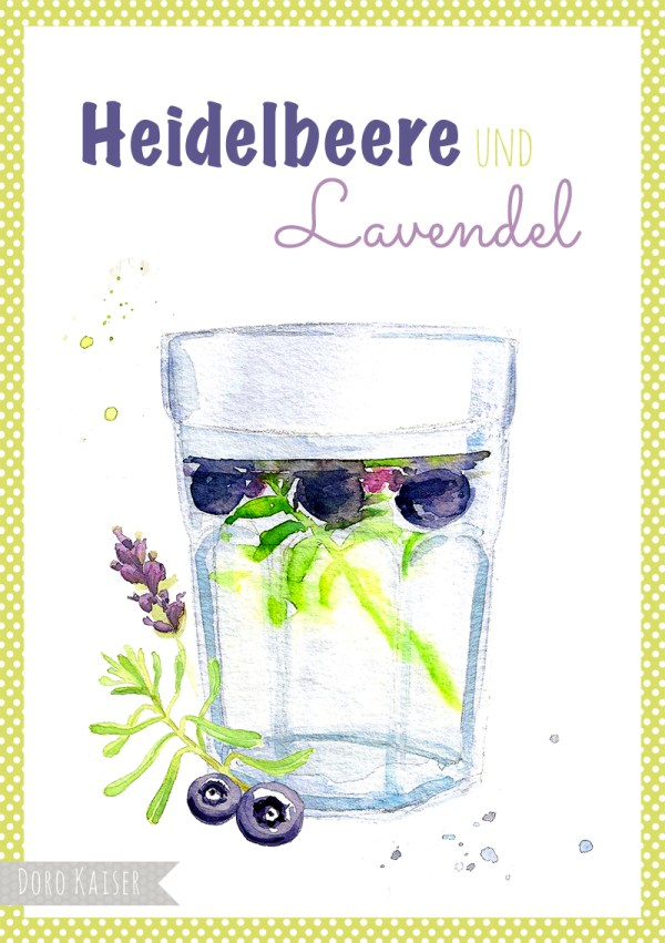 "Food Illustration Heidelbeere und Lavendel "" Infused Water "", Doro Kaiser 