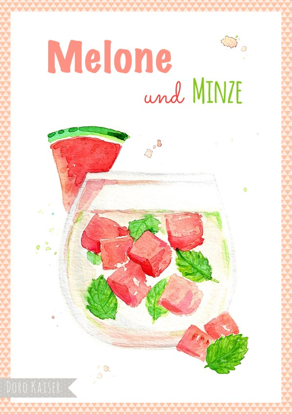 "Food Illustration "" Infused Water Melone und Minze "", Doro Kaiser 