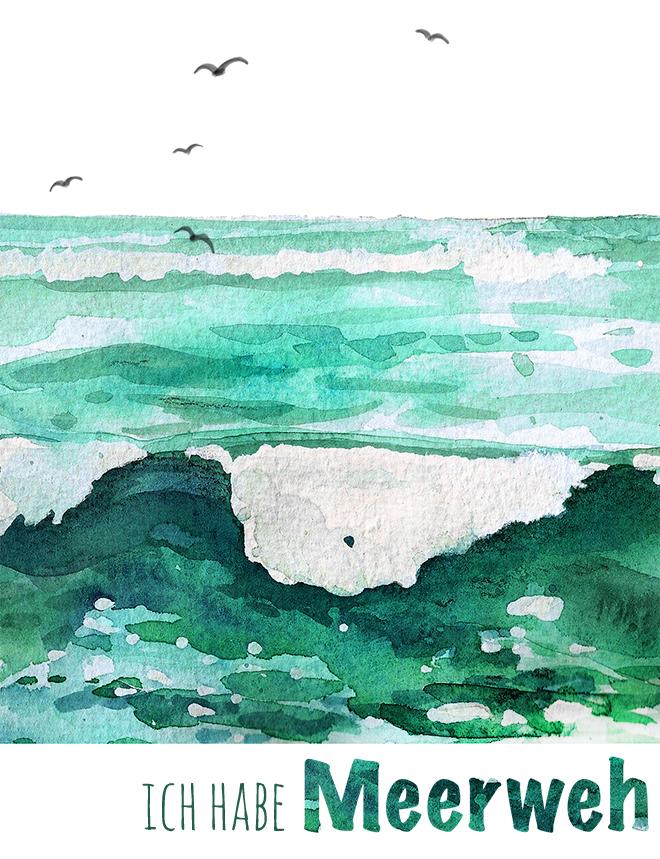 meerweh  aquarell  lettering   doro kaiser  grafik