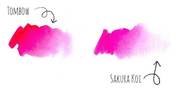 Review Vergleich Brush Pen - TOMBOW vs. Sakura KOI | Farbverlauf | www.dorokaiser.online.de
