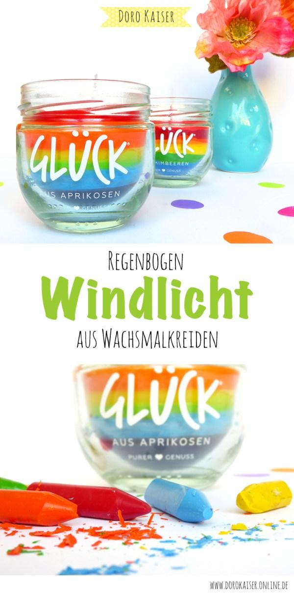 DIY Anleitung für eine Regenbogen GLÜCKS Kerze aus Wachmalstiften | www.dorokaiser.online.de