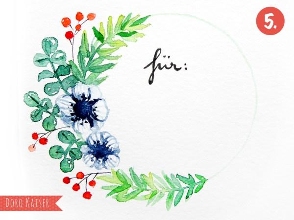 Schtitt für Schritt Anleitung | Malen Lernen mit Aquarellfarben: Geschenkanhänger mit Weihnachtskranz | www.dorokaiser.online.de