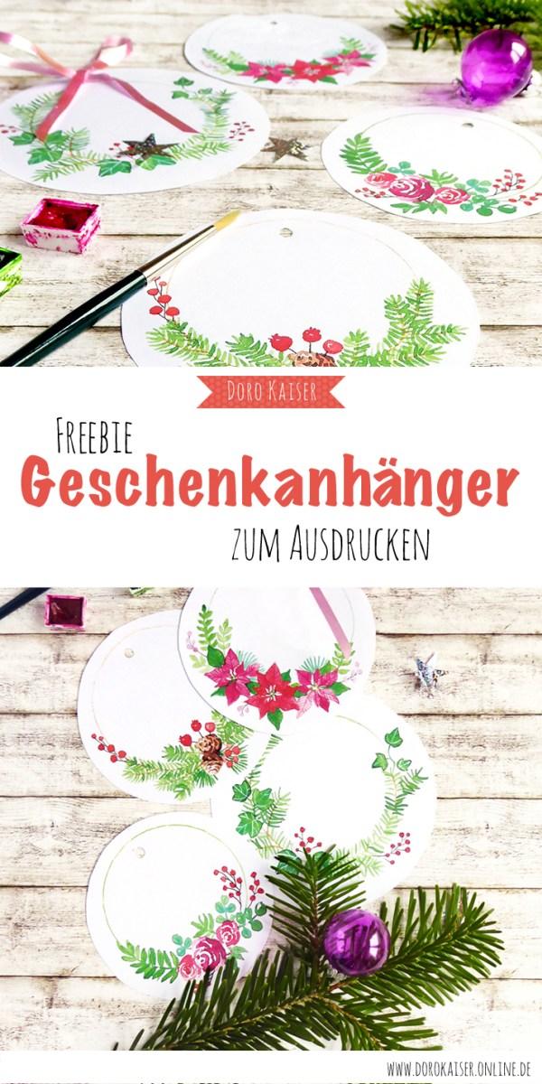 Last Minute Freebie zu Weihnachten: Aquarell Geschenkanhänger zum Ausdrucken | www.dorokaiser.online.de