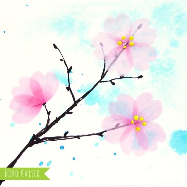Illustration Kirschblüte mit Flower Washi Tape   www.dorokaiser.online.de