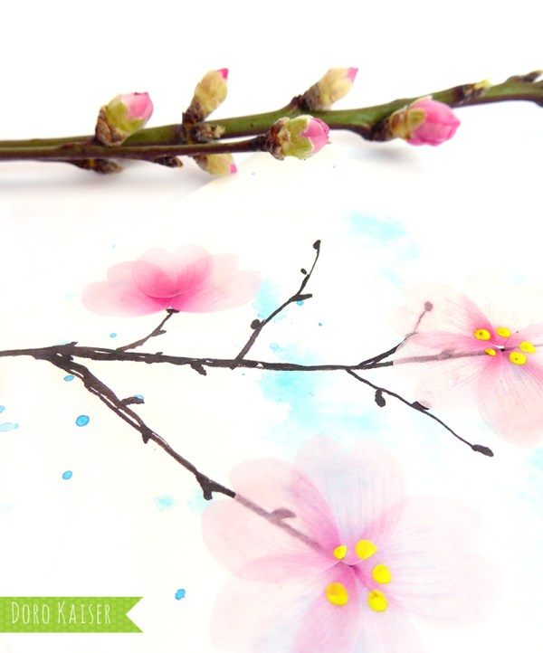 Kirschblüten aus Flower Washi Tape - Matdrial   www.dorokaiser.online.de