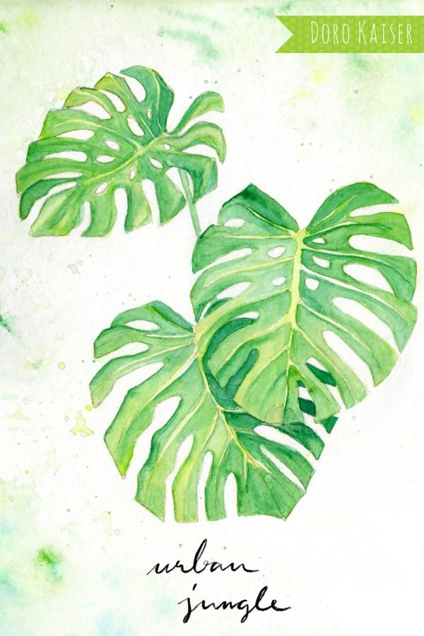Anleitung zum Malen mit Aquarellfarben: exotische Monstera Blätter