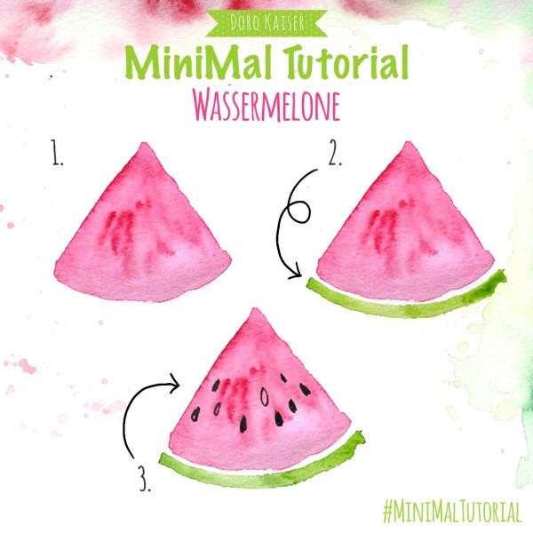 MiniMal Tutorial: Melone, Aquarell Malanleitung