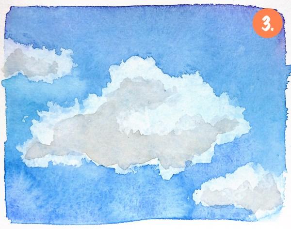 Malen lernen mit Aquarellfarben: Himmel und Wolken