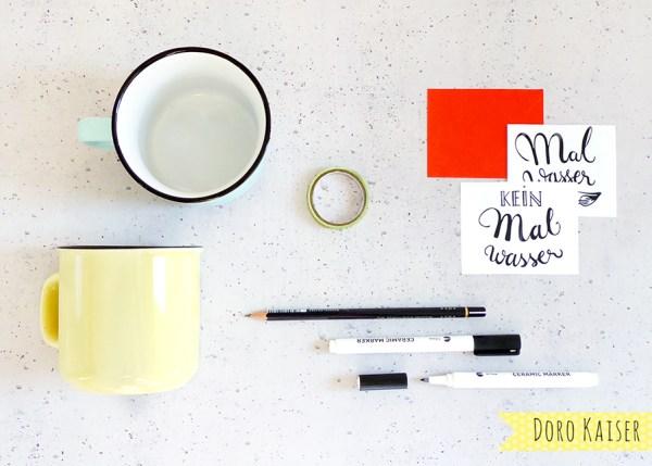 DIY Handlettering mit Porzellanstiften mit Vorlage - Material | www.dorokaiser.online.de