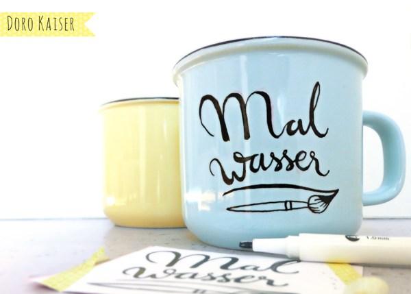 DIY Handlettering mit Porzellanstiften mit Vorlage | www.dorokaiser.online.de