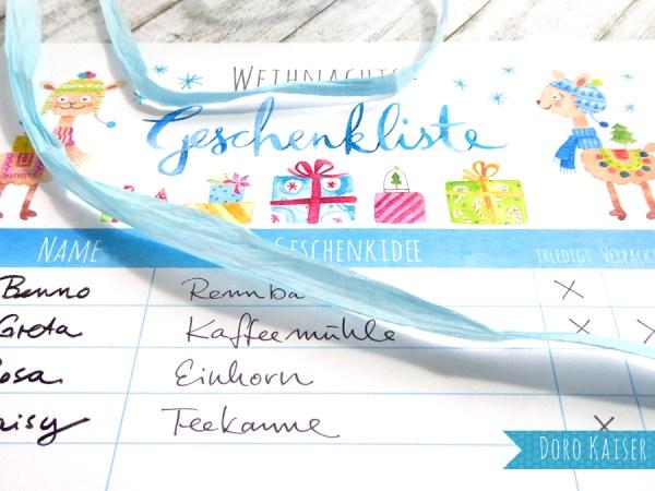 Freebie: Geschenkliste für Weihnachten mit Lamas | www.dorokaiser.online.de