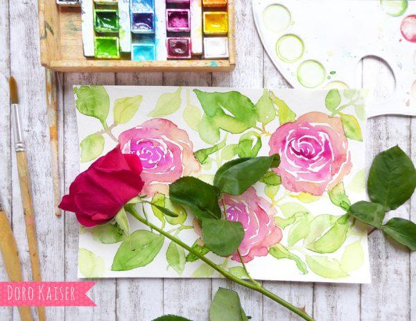 Anleitung mit Video , Malen mit Aquarell: Rose