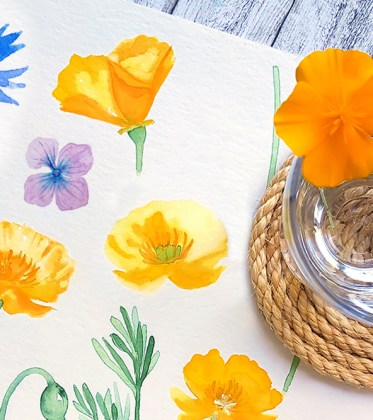 Titel Aquarell Sommerblumen malen