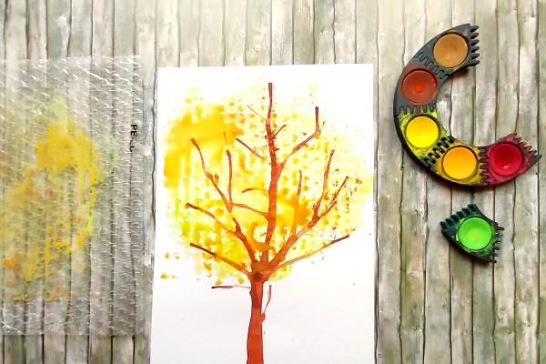 Herbst Malen mit Kindern Schritt 6 Apfelbaum