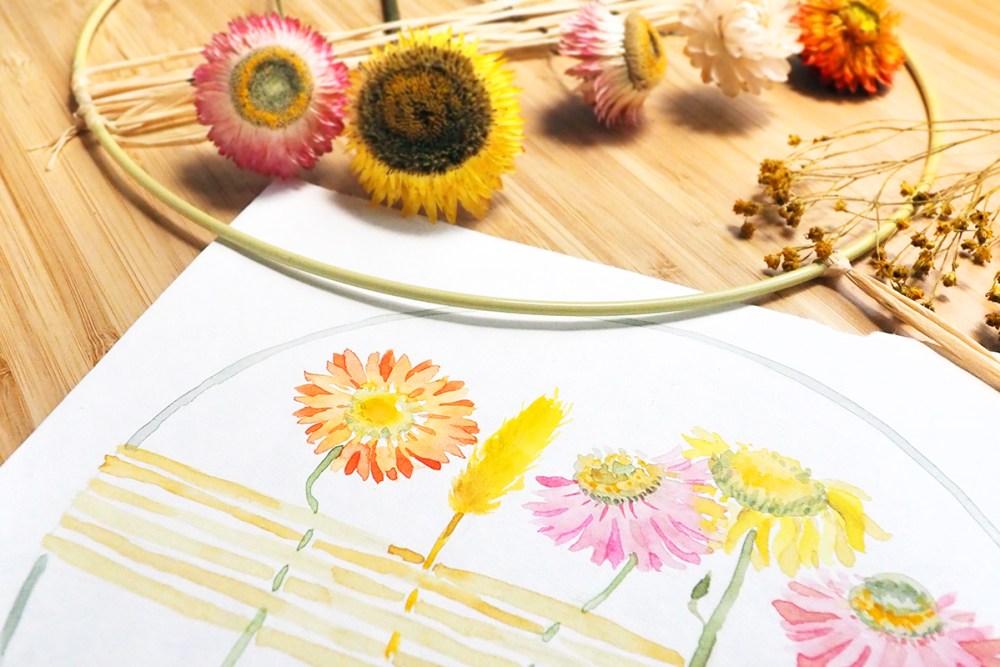 Aquarell mit Trockenblumen