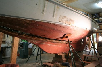 Dorothy pre-paint-stripping-portside-T.Grove July 2013-dorothysails.com