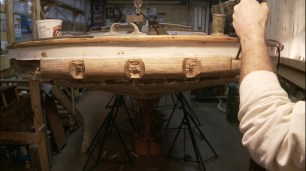 Prying off wood around fastenings rubrail
