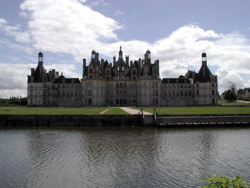 Achtergevel van het kasteel Chambord bij de Loire in Frankrijk