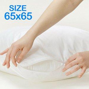 Bid Buy Direct® 100% coton (65x 65) taies d'oreiller avec fermeture éclair–Résistant aux liquides–Lavable en machine–Antiallergique, antibactérien, Lot de 4