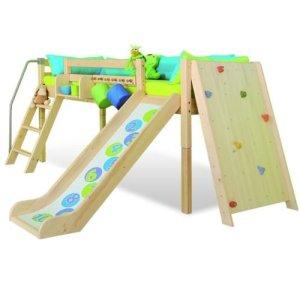 Domino enfants surélevé Lit Cabine Fun Play avec toboggan et mur d'escalade–30% de réduction.