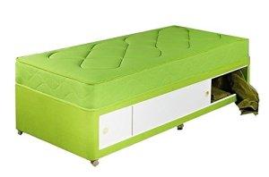 Interiors 2pour U simple Standard 100% coton Tissu Ensemble de lit pour enfant avec tiroir coulissant, 0,9m, Vert citron