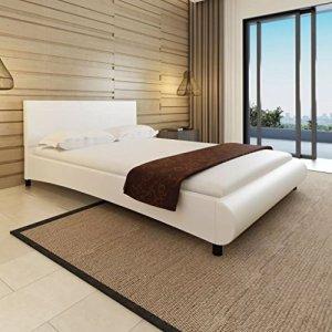 Furnituredeals Lits doubles lit avec matelas de cuir artificiel blanc 140x 200cm lit matrimonial