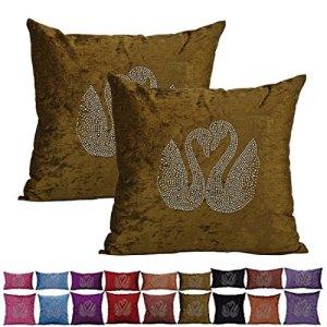 PLANDV Taie d'oreiller en chenille décorative Lovely Embroidery Lot de 2, disponible en 9 couleurs et 7 tailles (40x40cm,Green)