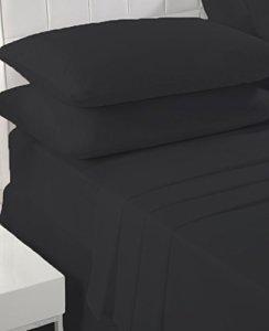 Sleepscene Coton majoritaire Drap-housse en noir, plusieurs tailles disponibles, noir, Simple