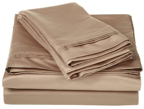 1500fils en coton égyptien massif Feuille de taille: Californie King Size, Couleur: Taupe