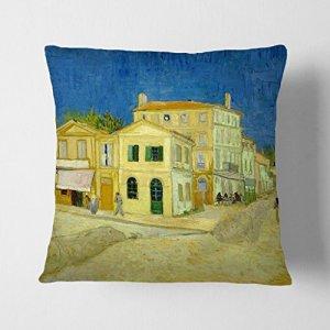 Big Box Art Vincent Van Gogh La Maison Jaune Blanc Soutenu Coussin Throw Taie D'Oreiller, Multicolore, 17x 43,2cm