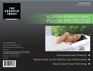 L'image Plus nette allergènes Barrier Protège Oreiller–Taille standard–hypoallergénique–Premium Fermeture Éclair antimicrobien Coton et polyester Housse lavable–Garantie à vie