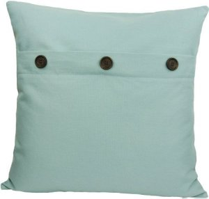 Manor Luxe Solid Color with Buttons Decorative Pillow Feather Filled, 20-Inch, Blue by Manor Luxe