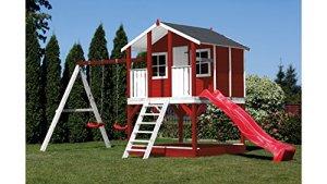 SCHEFFER OUTDOOR TOYS Set: Tobi Maison de jardin pour enfants, rouge, toboggan et balançoires, B/T/H: 376/447/281cm