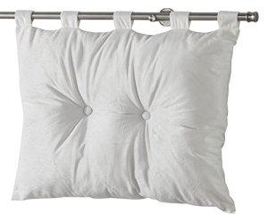 Homea Tête de Lit Velours Uni Romantic Polyester Blanc 50 x 68 cm