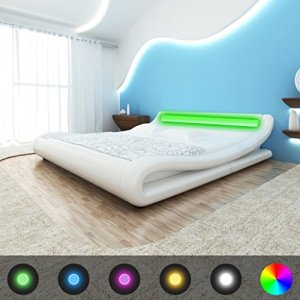WEILANDEAL Lit avec LED Matelas en Cuir Artificiel 140x 200cm Courbe Blanche Lits Bande LED: