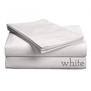 Gotcha Luxe Collection 618CT Satin de coton peigné tissage profonde Profil jusqu'à 45,7cm Pocket Sheet Définit Split CAL King Blanc