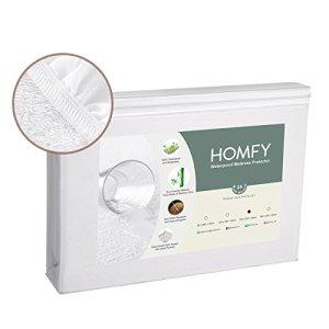 HOMFY Protège Matelas Imperméable 160×200, Alèse Respirante, Bonnet Rabat 30cm, Drap Housse, Anti-Acarien Hypo-Allergénique, Eco Bambou Fibre