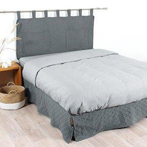 COTE DECO tete de lit matelassée microfibre lavée moji 160×65 cm – gris anthracite