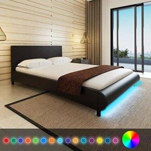 WEILANDEAL Lit de Cuir Artificiel Noir LED 140x 200cm + Matelas viscoelast Lits Dimensions: 217x 145x 68cm (Longueur x Largeur x Hauteur)