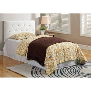 Meubles d'Amérique Meubles d'Amérique Wilmington en Similicuir tufté Tête de lit –, Blanc, Cuir/Bois, Twin