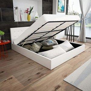WEILANDEAL lit Canape hidraulica Cuir Artificiel Blanc 180x 200cm Lits Dimensions totales: 212x 188x 74cm (Longueur x Largeur x Hauteur)