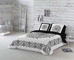 Parure housse couette Mandala Frame 100% coton Cama 105 Blanc/noir